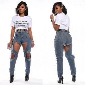 Estilo magro cintura alta Calças Lápis Moda Jeans Mulheres falso de duas Designer Jeans Mulheres Lavado Casual Sexy Rua
