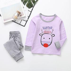 Kids Christmas Light purple Long Sleeve Tshirt + gray Trousers for Boy Girl party Warm Baby Pajamas Sleepwear Homewear Underwear