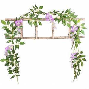 시뮬레이션 등나무 꽃 플라스틱 인공 등나무 꽃 간단한 웨딩 장식 축제 파티 2M PhxM 번호 공급