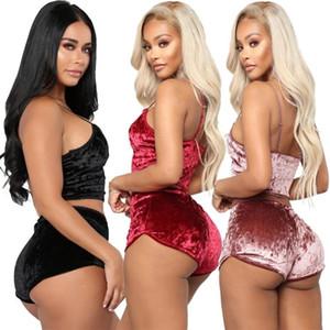 Artı boyutu Noel Moda Kadınlar Seksi Kadife Pijama Bayanlar Dantel V-Yaka Kırp'a ayarlar Şort 2pcs pijamalar İç Pijama Setleri Tops