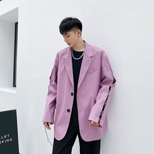 Men Chain Streetwear Vintage Fashion Casual Suit Blazers Jacket Male Punk Gothic Loose Suit Coat Outerwear Stage Clothing