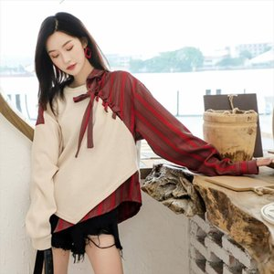2020 autumn New Sweater Sets Of Women Loose Thick Retro Temperament Stitching Long sleeved Sweater 19B a477 Drop Shipping
