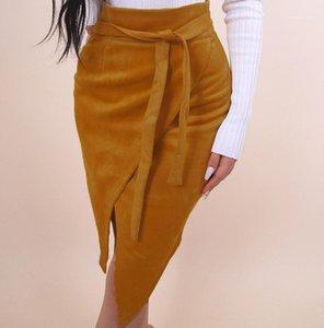 Hip viste casual una línea de sexo femenino atractivo Ropa Mujeres sólido de color irregular de la falda del cordón de la moda Otoño