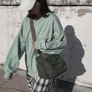 2020 Women's Solid Color Portable Canvas Bag Simple Zipper Shoulder Bag Casual Handbag Outdoor Ladies Lazy Shoulder