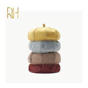 Lady Bahar Kış Bereliler Hat Ressam Şapka Kadınlar Vintage Bereliler Katı Renk Keçe Kadın Bonnet Kabak Cap RH Isınma Caps
