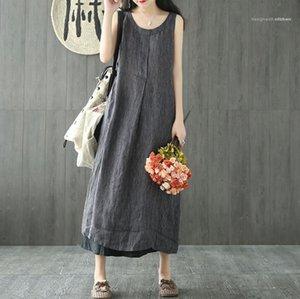 Edebi Stil Moda Giyim Kadın Yaz Çizgili Keten Elbiseler Mürettebat Boyun Kolsuz Relaxed Midi Kadın Giyim Günlük