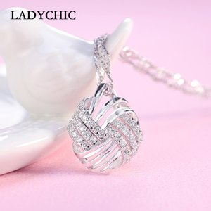 LADYCHIC Fashion Jewelry Copper Silver Color Pendant Necklaces for Woman Luxury Zircon Inlay Female Crystal Wholesale LN1022