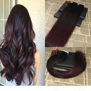 Highlights Real Remy Human Hair Tape on Hair Extensions Ombre #1B 99J Balayage Invisible Skin Weft Tape in Extensions 100g 40pcs