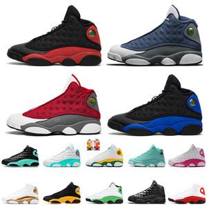 Nike Air Jordan Retro 13 13s أعلى جودة Jumpman أحذية الرجال لكرة السلة للنساء ولدت شيكاغو الجلطة البني الداكن الحجر الصوان الغلاف الجوي رجل مدرب الرياضة احذية 5،5 حتي 13