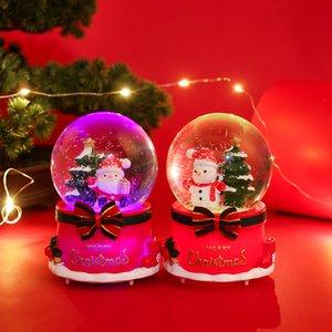 Рождественские подарки Рождественские Crystal Ball Music Box Снежинка Светящегося Сант снеговик рождественской елка Xmas Eve подарок дети XD23951