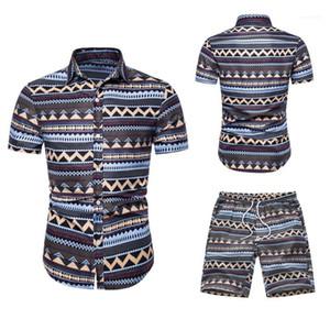 Casual Lapel Neck Short Sleeve Tops Short Pants Fashion Hawaii Style Suits Mens Designer Print Summer Tracksuits