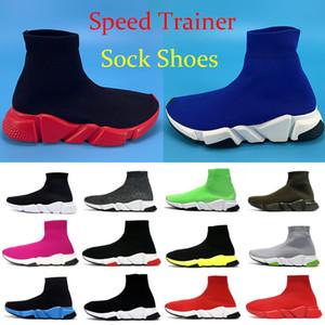 2019  diseñador Speed Trainer moda de lujo de los hombres de las mujeres calcetines zapatos negro blanco azul oreo Flat mens sport zapatillas Runner tamaño 36-45