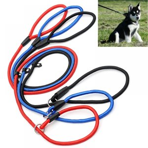 Hot DHL Pet Dog Nylon Rope Training Leash Slip Lead Strap Adjustable Traction Collar Pet Animals Rope Supplies Accessories 0.6*130cm