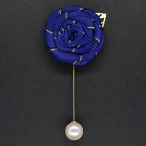 Satin Roses Wedding Groom Buttonhole Silk Ribbon Bridal Artificial Flowers Brooch Lapel Pin For Men Ceremony de novia XH039-P