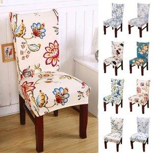 Slipcovers Restoran Ziyafet Otel Ana Dekorasyon Boyama Çiçek Baskı Stretch Sandalye Kapak Big Elastik Koltuk Sandalye Örtüleri