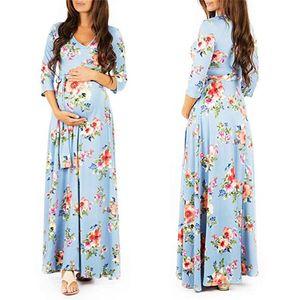 Floral Print Bottoming Dresses Maternity Clothes For Pregnant Women Dress Belt V-neck Pregnancy Dresses Vestidos Mother Wear