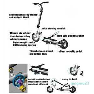 Wholesale-2020 new TARCLE 10 Inch Air Wheel Pedal Fold Scooter Fitness Stepper Carbon Scooterscooter 10 inch