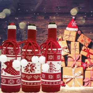Knitted Wine Bottle Cover Creative Tree Elk Snowflake Knitted Christmas Wine Bottle Cover Decoration Christmas Decorations DHC2381
