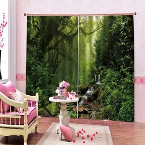 3D Лесной водопад душ curtians Природный пейзаж Полиэстер окна Шторы для гостиной Главная портьеры Декор
