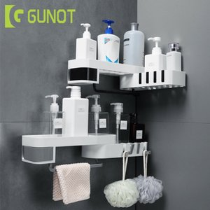 GUNOT Corner Shower Shelf Creative Seamless Rotating Tripod Home Wall-mount Storage Rack Multifunction Bathroom Accessories Sets LJ200908