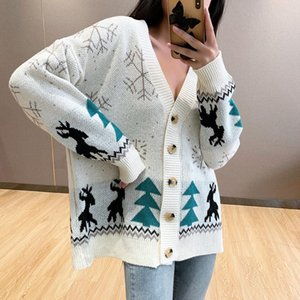 2020 Autumn Winter Women Sweater Cardigans Oversize V neck Knit Cardigans Girls Outwear Christmas Tops Coat women sexy tops