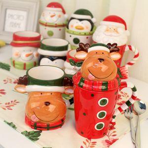 13oz Chrismas ceramic mugs coffee mug Bone China Chrismas gift cartoon bear mug 3D cup with spoon