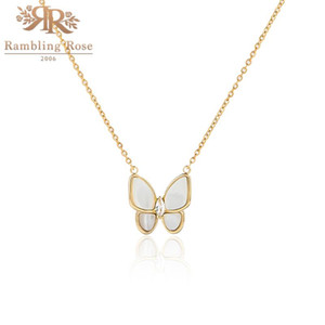 Pendant Necklaces Fashion Necklace Women Butterfly Real Gold Plated 16 Inches Chain For Girl Jewelry Gift