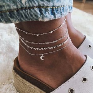 Multi-layer Four-piece Alloy Anklets Set Moon Shape Leg-chain For Woman Silver Color Barefoot Bracelet Jewelry