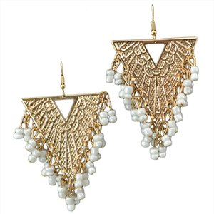 Unique Design Big Geometric Earrings for Women Girl Fashion Boho Vintage Triangle Dangle Earrings Gold Color White Beads Jewelry