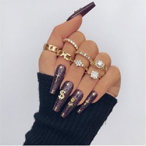 LETAPI Bohemia Simple Design Gold Silver Color Hollow Geometric Finger Ring Set Multi layer Opening Knuckle Rings for Women