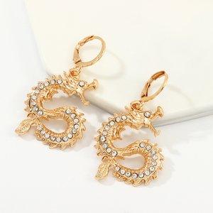 استرخى الثريا الأزياء الذهب التنين حجر الراين أقراط شخصية الهيب هوب اكسسوارات مجوهرات مجوهرات باردة