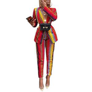 كم خريف شتاء المرأة رياضية طويل السترة مستقيم سروال البدلات النسائية مخطط طباعة عارضة الأزياء 2 قطعة البدلة