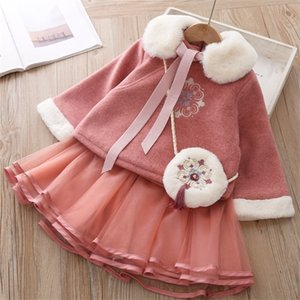 Baby Girl Chinese Style Retro Woolen Tang Dress Mesh Skirt Set Winter Clothes Thicken Warm New Year Costume Baby Girl 3pcs 0926