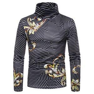 Личность E-Baihui 2020 Осень Нового стиля Мужской Полосатые Печатные футболки, Большой шаблон с длинными рукавами рубашки 12101101L09 пассива
