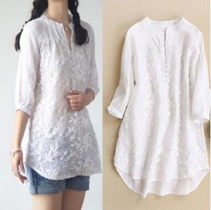 RDQ3P 9VgEx Spring and Summer Korean women's embroidered white wear organza embroidered women's shirt slimming mid-length long shirt sleeve w