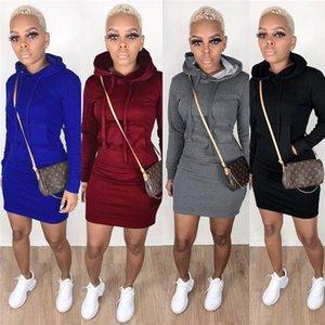 Hooded Dresse Women Dresses Casual Style Women Designer Dresses Autumn Fashion Slim Solid Color Long Sleeve
