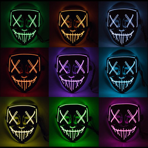 Halloween máscara Horror LED Glowing máscaras Máscaras Máscaras Purge Eleição Mascara traje DJ Party Light Up Brilho In Dark 10 cores w-00232
