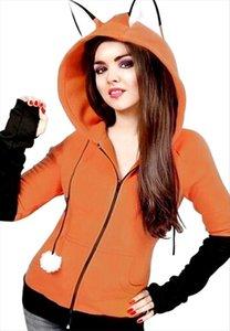 Christmas Anime Fox Ears Hoodie Orange Sweatshirts Plush Ball Decoration Jacket Halloween Cosplay Women Kawaii Outwear Hoodies