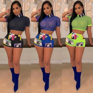 2019 New 2 Piece Set Women Summer Clothes Mesh Sheer T shirt Hot Shorts 2Pcs Leotard Female Fashion Two Piece Set Clubwear