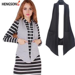 HENGSONG Women Fashion elegant office lady pocket coat sleeveless vests jacket outwear casual brand WaistCoat New 858155