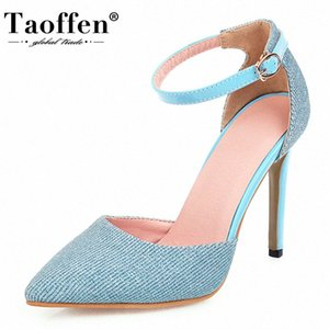 TAOFFEN Women Sandals Bling Summer Ankle Buckle Shoes Women Super High Heel Pointed Toe Party Footwear Size 34 43 Skechers Sandals Sex TgBy#