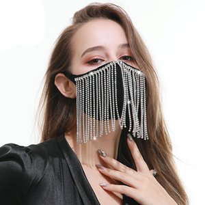 2020 Artes y artesanías venta caliente del diamante borla puros Máscaras de diseño algodón de la personalidad negro flash de perforación máscara de algodón transpirable
