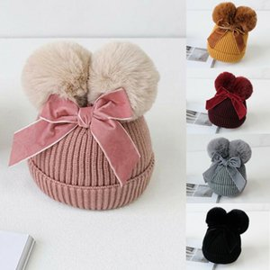 Pudcoco Toddlers Kids Pompom Beanie Infant Baby Slouchy Knitted Hat Winter Bobble Cap