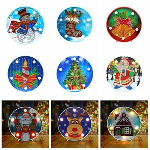 5D DIY diamante Pintura Decoración de Navidad de la lámpara LED para el hogar de Santa Claus Feliz Navidad Año Nuevo Decoración Decoración