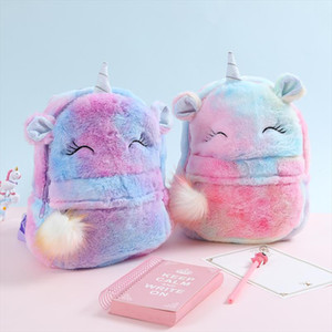 2019 Autumn Winter Cute Children Backpacks Lovely Girl Backpack Kids Rainbow Schoolbag Cartoon Unicorn Toy Doll Bags