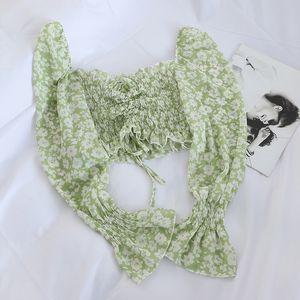 Yojoceli boho beach print blouses shirt women long sleeve ruffle short blouse tops female blusas 200924