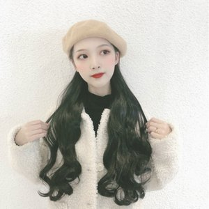 Fashion one-piece intergrated women's long loose body wave synthetic hair wig and wool berets one piece
