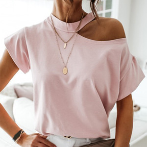 Summer One Shoulder Halter Women's T-shirt White Short Sleeve Pure Black Female T-shirts New Solid Streetwear Casual Ladies Tops