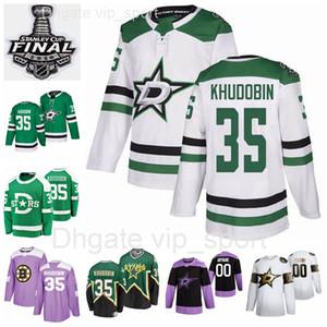 Benutzerdefinierte Männer Frauen Jugendliche 35 Anton Khudobin Trikots 2020 Stanley Cup Finals Dallas Stars Hockey Winter Classic Green White Heritage Mann eine Frau
