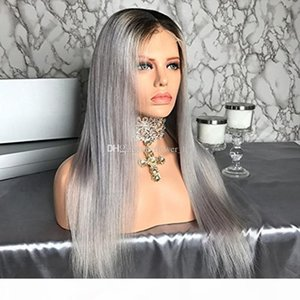 Hair Straight Ombre Color Wig 1B Grey Full Lace Human Hair Wig with Dark Black Roots 100% Brazilian Remy Hair Wig
